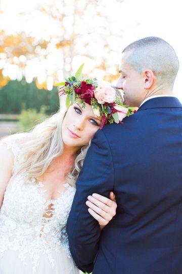 Wedding look with flower crown