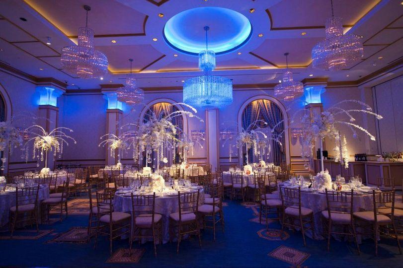 Blue chandeliers