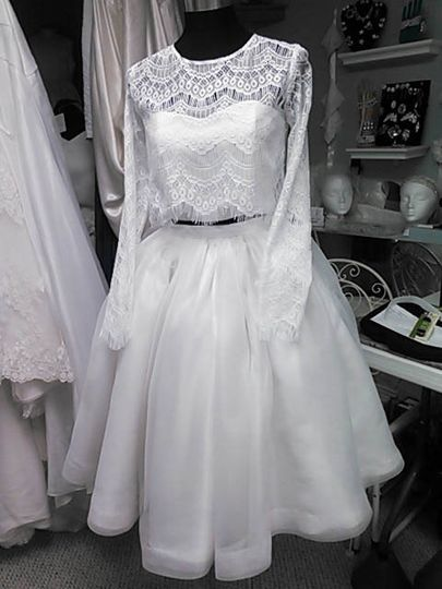 3 piece crop top and short skirt Custom Wedding Gown by JenMar Creations