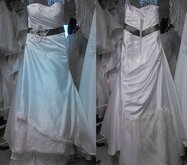 Simple satin dress. We added a cappuccino belt with the pearl embellishment. We used elements from...