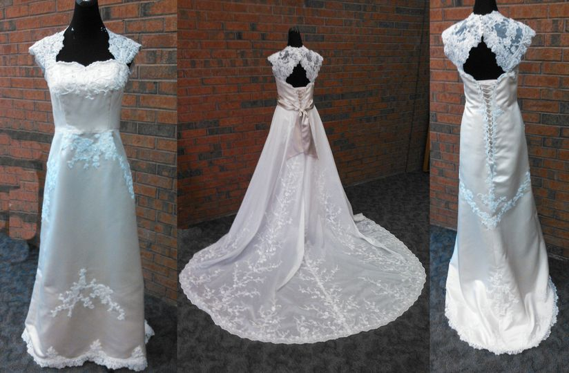 We started with a two toned taffeta and satin dress. We removed the light crinkle taffeta skirt and...