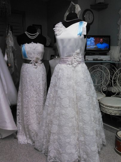 This is a 2 Piece custom dress. The dress is a vintage style sheath of dutchess satin. We added a...