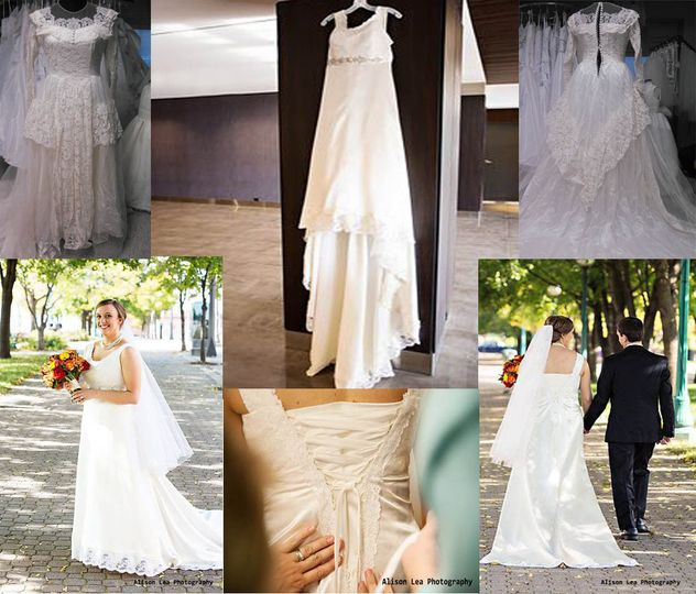This Brides dress was made from her Grandmothers wedding dress. We used the lace from the bodice in...