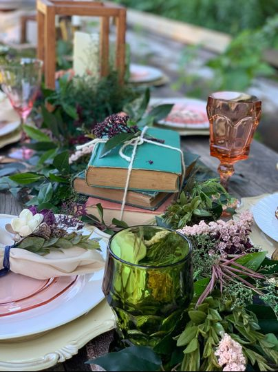 Antique books centerpiece