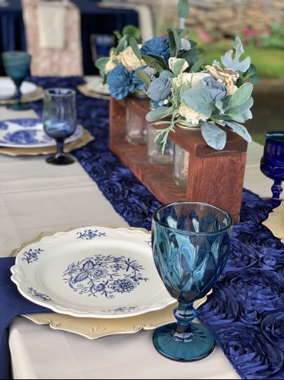 Blue and whtie china plates