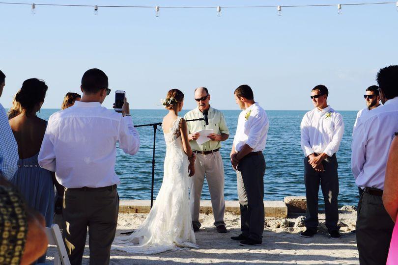Beachside ceremony.