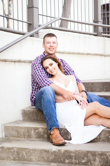 Couple by the stairs | Cali stewart photography