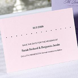 Introduce your wedding style with save-the-date cards, made from Jean M papers. Plain single white...