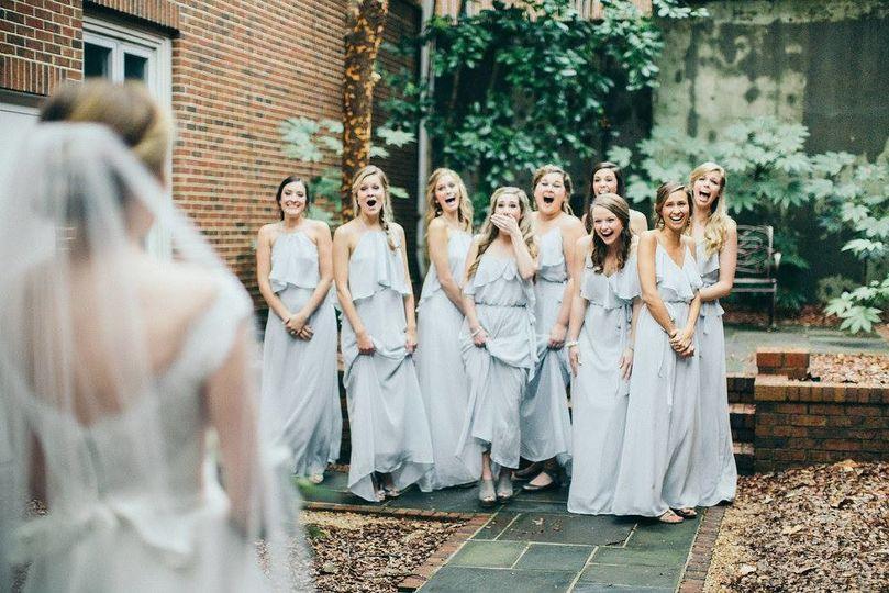 Blush blue bridesmaid dresses