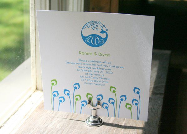 Peacock Monogram Wedding Invitation