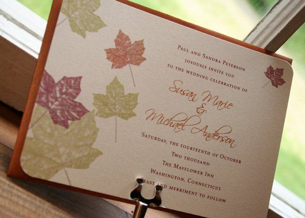 Maple Autumn Leaves Wedding Invitation