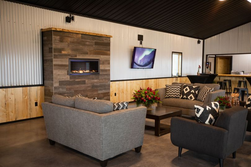 Lounge area with gas fireplace