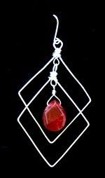 Sterling Silver diamond earrings with ruby.  Available with other stones or in gold filled