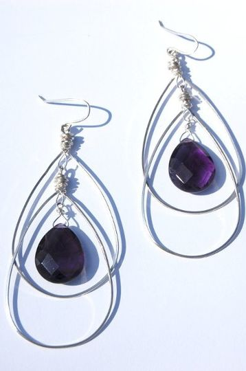 Sterling Silver hoops with amethyst