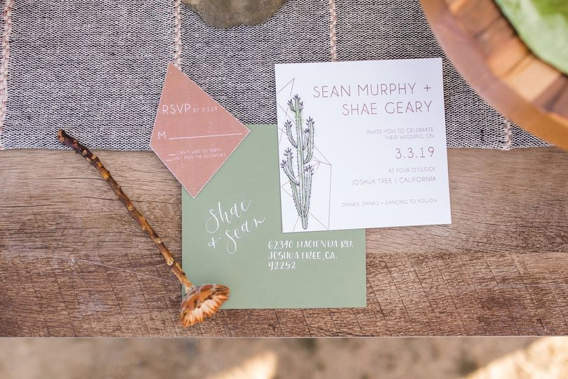 Modern desert invitations