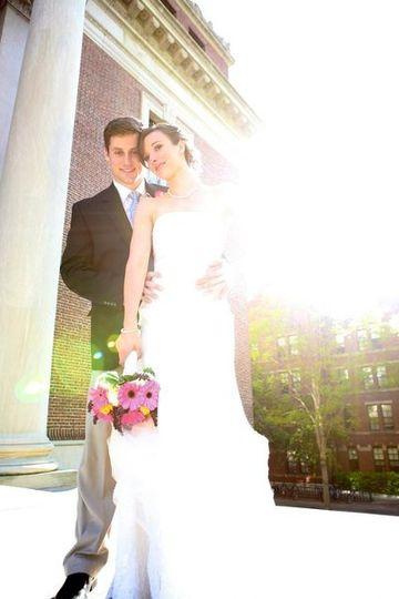 A artsy image of bride and groom.