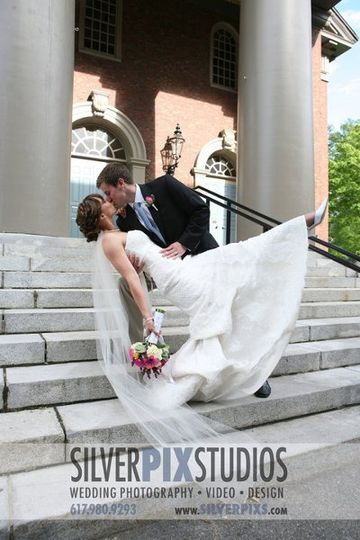 Bride and groom dipping outside of church in Harvard Yard, Cambridge, MA.