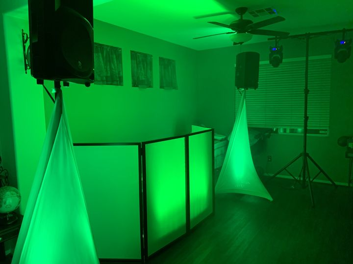 Green DJ booth lighting