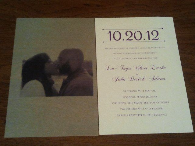 DIY idea: Frosted cover with couple's picture and invitation. Wedding invitation made by bride's...