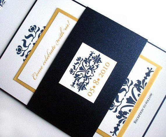 Wedding Invitations -- Brocade Set w/ Belly Band - Metallic Navy Blue Gold. $4.75 per set (50-99)...