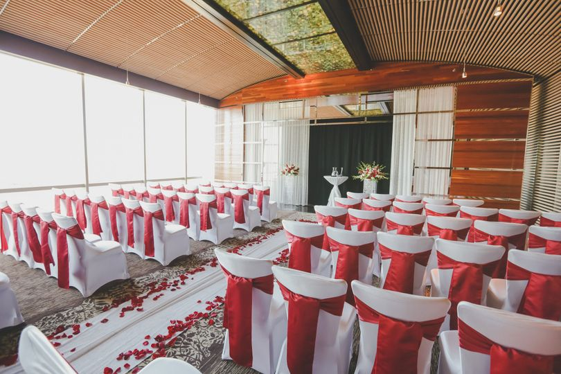 Red and white wedding setup