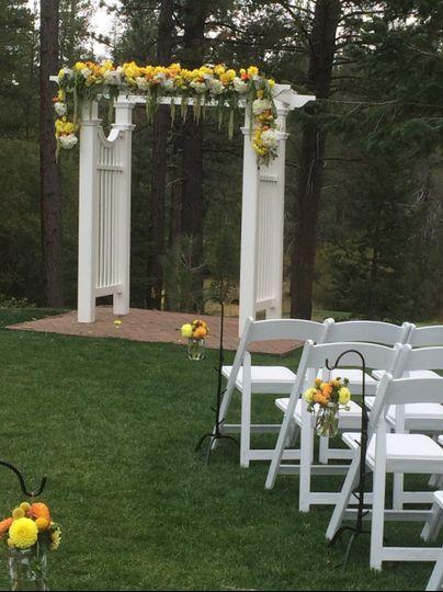 Floral-draped altar