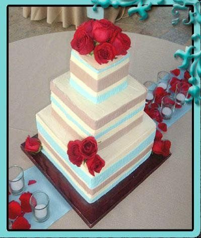 Square cake with a modern design