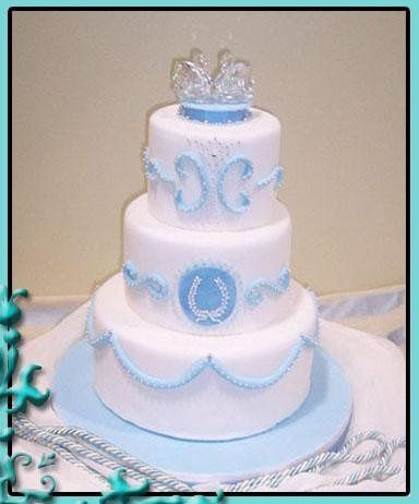 Fondant cake with a princess-style design. Crystal swan cake topper.