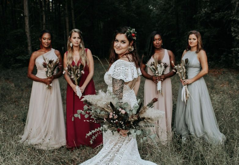 Bride standing with bridal party