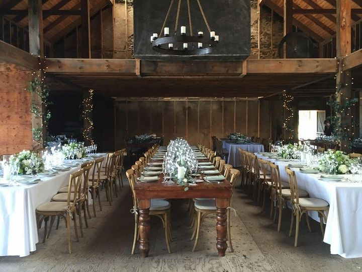 Rustic reception hall setup