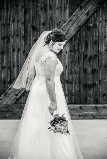 Bride by sliding barn door