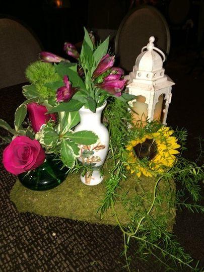 Floral decor and lantern
