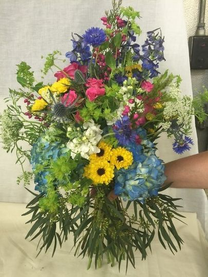 Blue and yellow arrangement