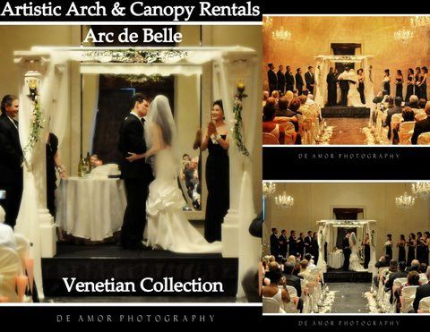 Arc de Belle's Venetian Chuppah Rentals - Unique Architectural Wedding Canopy - Photo credit De Amor...