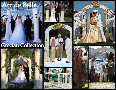 Artistic Wedding Arch & Canopy Rentals by Arc de Belle White Architectural Columns Photo credit:...