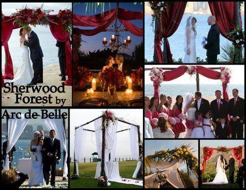 Arc de Belle's Dark Mahogany Wood Organic Inspired Wedding Arch & Chuppah Rentals Sherwood Forest...