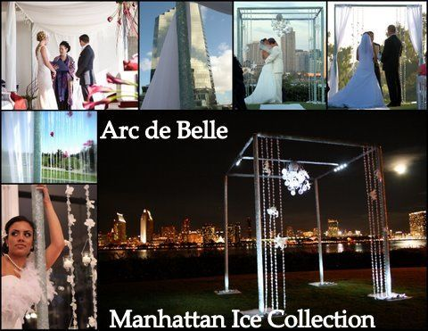 Arc de Belle's Modern Peaked Weddiing Canopy Chuppah Rentals draped in white, ivory or black Photo...