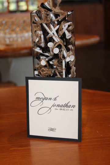 Personalized golf tees are a nice treat to offer your guests.  Signature signage throughout your...