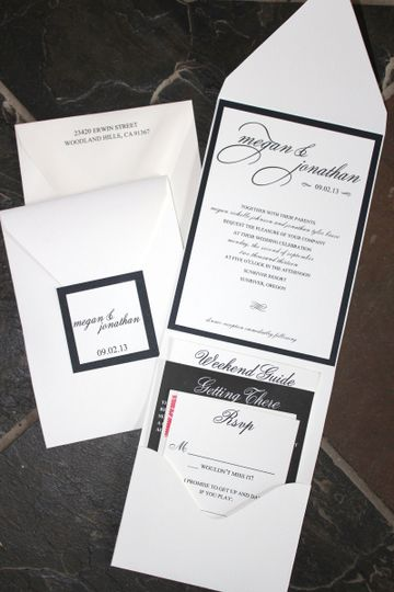 This classy pocketfold invitation suite works great for a destination wedding.  You can include all...