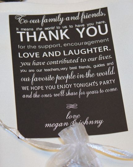 Let your guests know how much you appreciate them being there to celebrate with you with this...