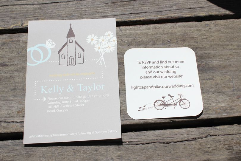 This casual wedding invitation is romantic and sweet.