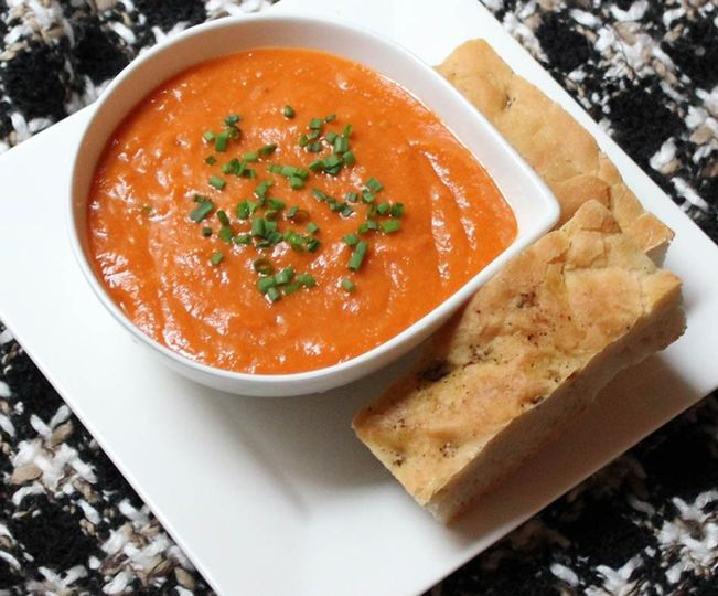Roasted Tomato Soup with Rosemary Focaccia
