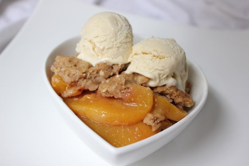 Peach and Ginger Crisp with Homemade Ginger Ice Cream