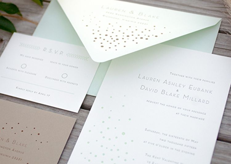 Fresh mint invitation suite