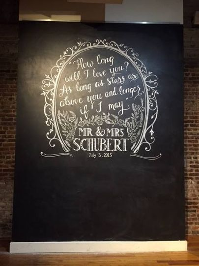 Large Chalkboard Wall for a wedding at The Stockroom in Raleigh, NC. Design includes a quote from...