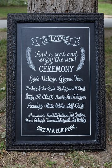 Welcome Chalkboard - Lists the names of the wedding party.