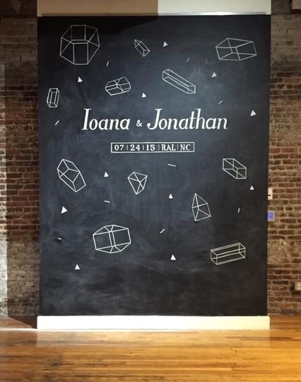 Large Chalkboard Wall for a wedding at The Stockroom in Raleigh, NC. Design concept created by the...