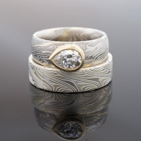 Mokume Gane Wedding Ring Set i