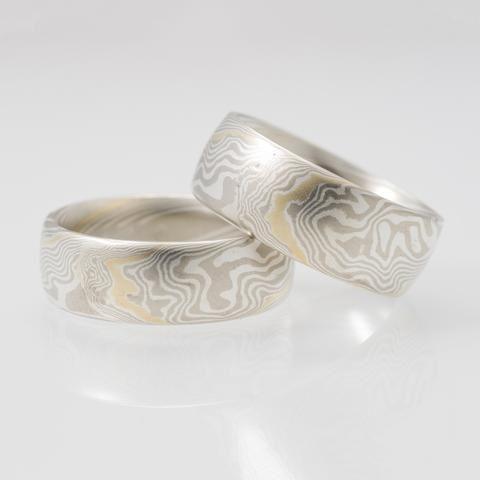 Mokume Twist Matched Wedding S