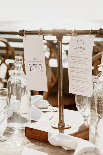 Table number + menu